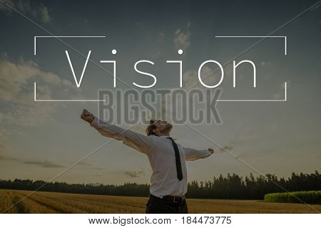 Vision Text Over Businessman With Open Arms