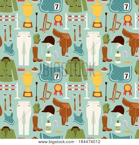 Flat color jockey icons set with equipment for horse riding isolated and horseshoe saddle sport race equestrian stallion barrier vector illustration. Champion gallop winner seamless pattern.
