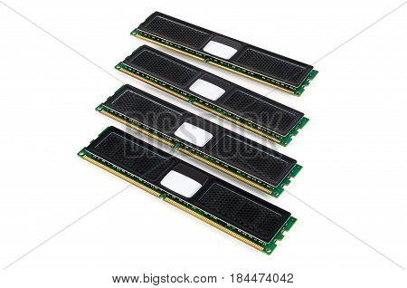 Modern computer memory modules with black radiator isolated on white background with clipping path