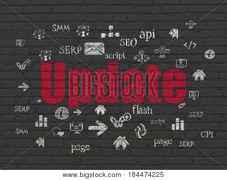 Web design concept: Painted red text Update on Black Brick wall background with  Hand Drawn Site Development Icons