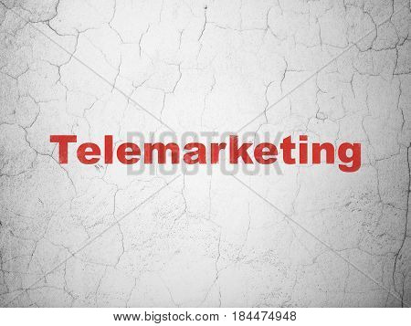 Advertising concept: Red Telemarketing on textured concrete wall background