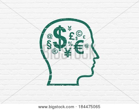 Marketing concept: Painted green Head With Finance Symbol icon on White Brick wall background
