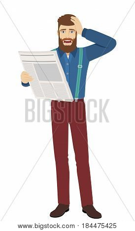 Bad news. Hipster with newspaper grabbed his head. Full length portrait of hipster character in a flat style. Vector illustration.