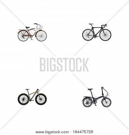 Realistic Bmx, Folding Sport-Cycle, Journey Bike And Other Vector Elements. Set Of Lifestyle Realistic Symbols Also Includes Bmx, Bicycle, Road Objects.