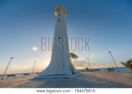 The Mahahual Lighthouse in Quintana Roo, Mexico