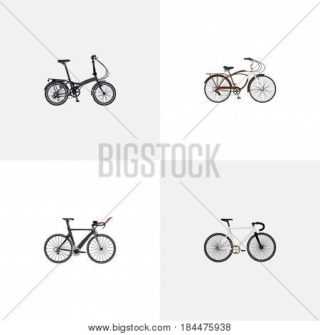 Realistic Folding Sport-Cycle, Journey Bike, Competition Bicycle And Other Vector Elements. Set Of Sport Realistic Symbols Also Includes Triathlon, Bike, Track Objects.