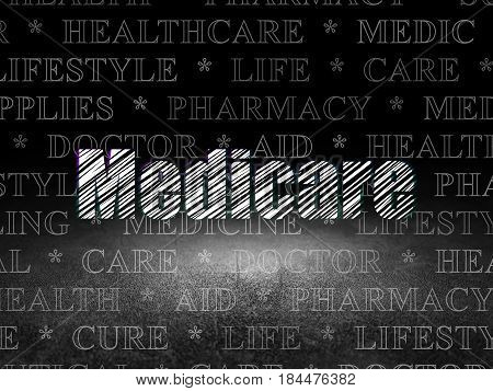 Healthcare concept: Glowing text Medicare in grunge dark room with Dirty Floor, black background with  Tag Cloud