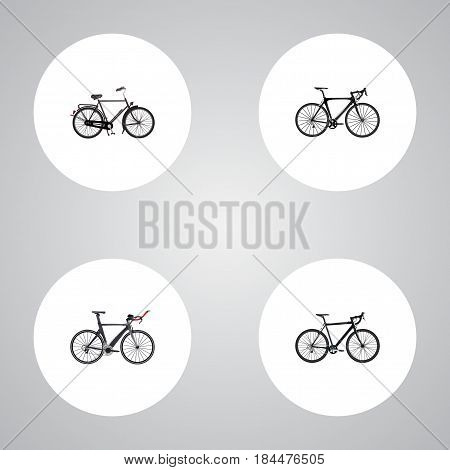 Realistic Exercise Riding, Cyclocross Drive, Competition Bicycle And Other Vector Elements. Set Of Lifestyle Realistic Symbols Also Includes Road, Bicycle, Velocipede Objects.