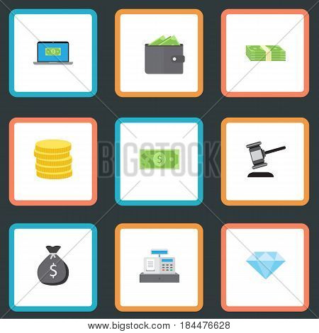 Flat Billfold, Jewel Gem, Finance Sack And Other Vector Elements. Set Of Business Flat Symbols Also Includes Jewel, Sack, Change Objects.