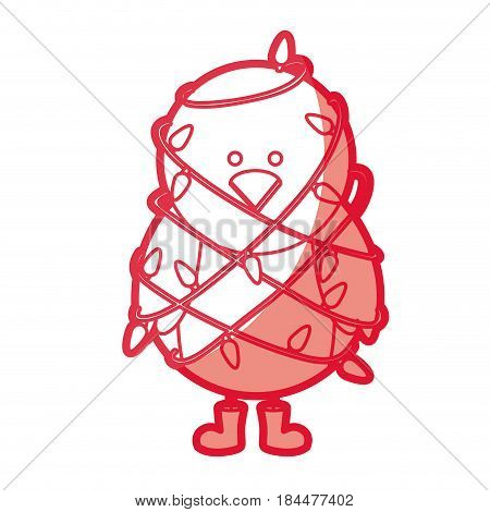 red silhouette of chicken with boots and involved in cord lights christmas vector illustration
