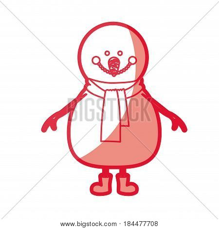 red silhouette of snowman with scarf and boots vector illustration