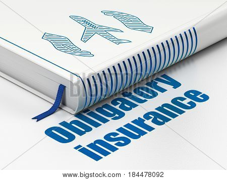Insurance concept: closed book with Blue Airplane And Palm icon and text Obligatory Insurance on floor, white background, 3D rendering