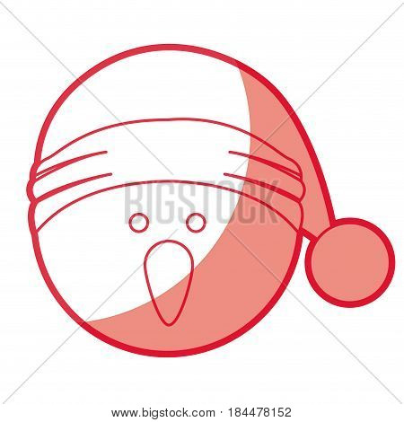 red silhouette of snowman head with christmas hat vector illustration