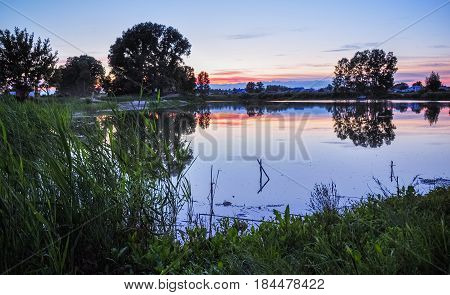 Tranquil Nature Scene. Sunset On The Pond Shore