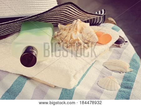Summer women's beach accessories for sea holiday. Sun care concept