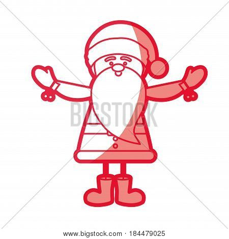 red silhouette caricature of santa claus with open arms vector illustration