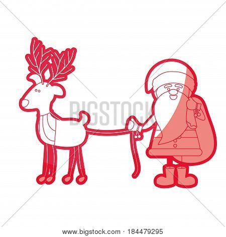 red silhouette caricature of santa claus with gift bag and reindeer holding by rope vector illustration