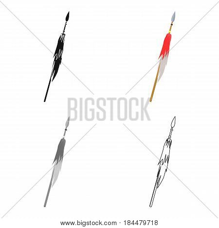Wooden spear with metal tip.Mongol Tatar national weapon.Mongolia single icon in cartoon style vector symbol stock web illustration.