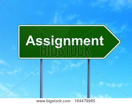 Law concept: Assignment on green road highway sign, clear blue sky background, 3D rendering