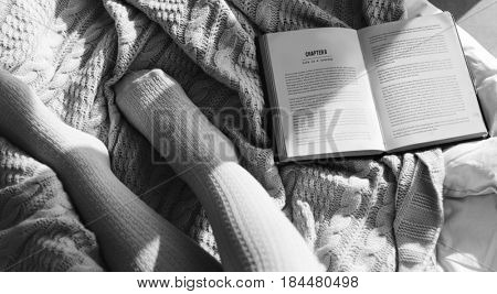 Woman Reading Book Novel On Bed Morning