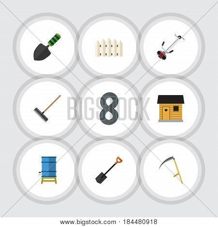Flat Farm Set Of Trowel, Cutter, Stabling And Other Vector Objects. Also Includes Rake, Wooden, Scythe Elements.