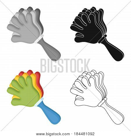 Attribute of the fan in the form of a hand.Fans single icon in cartoon  vector symbol stock illustration.