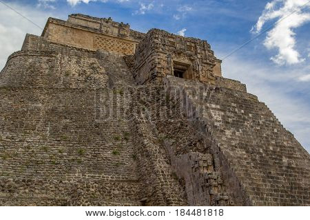 Uxmal Pyramide Ancient Maya Architecture Archeological Site In Yucatan Mexico