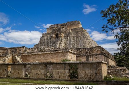 Uxmal Pyramid Ancient Maya Architecture Archeological Site In Yucatan Mexico