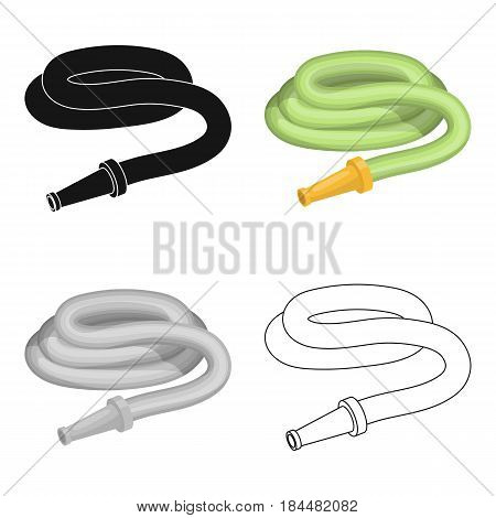 Garden hose with nozzle. Hose for watering beds.Farm and gardening single icon in cartoon style vector symbol stock web illustration.