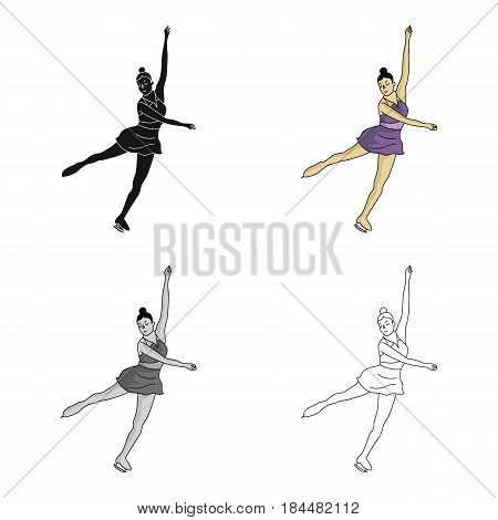 Girl in purple dress dancing on skates on ice.Athlete figure skaters.Olympic sports single icon in cartoon style vector symbol stock web illustration.