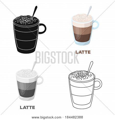A cup of latte.Different types of coffee single icon in cartoon style vector symbol stock illustration .