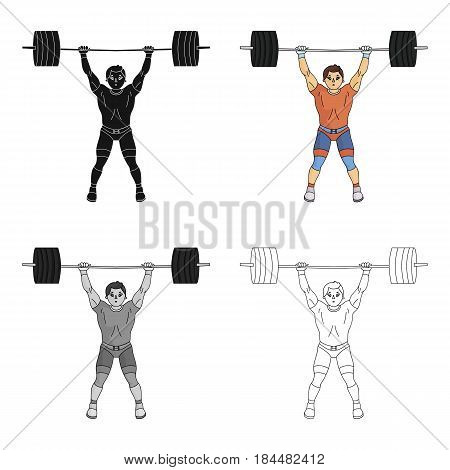 Strong weightlifter raises the bar in the gym.The athlete lifts a huge weight.Olympic sports single icon in cartoon style vector symbol stock web illustration.