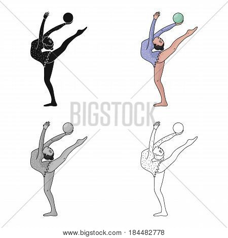 Skinny girl with ball in hand dancing sports dance. The girl is engaged in gymnastics.Olympic sports single icon in cartoon style vector symbol stock web illustration.