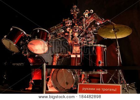 ST. PETERSBURG, RUSSIA - JUNE 28, 2016: Robot the drummer exposed during the interactive exhibition Ball Of Robots. Last year the exhibition was visited by 200,000 people. The label say Don't Touch