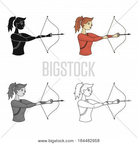 A girl stands in profile and holds the bow.Shooting a bow at a target.Olympic sports single icon in cartoon style vector symbol stock web illustration.