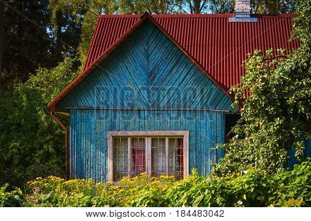 Old and shabby wooden summer house Russia SaintPetersburg district.