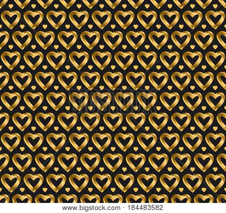 seamless luxury vector gold and black heart pattern