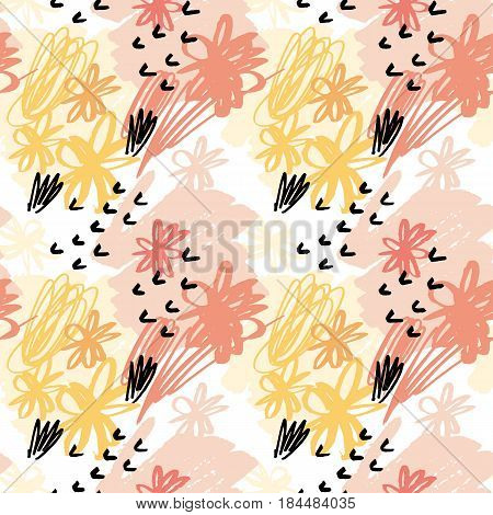 seamless pattern wallpaper. vector illustration for fabric. pencil drawn floral nand abstract elements