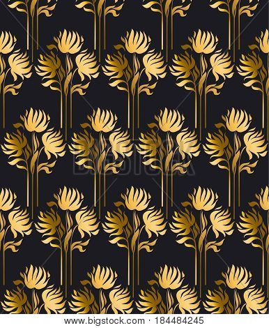 luxury style vector pattern with gold flowers