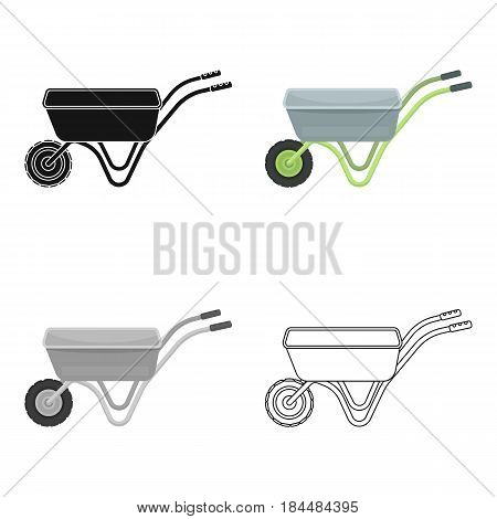 Hand truck with one wheel. Wheelbarrow for the transportation of goods around the garden.Farm and gardening single icon in cartoon style vector symbol stock web illustration.