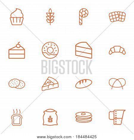 Set Of 16 Cook Outline Icons Set.Collection Of Donuts, Pretzel, Waffle And Other Elements.