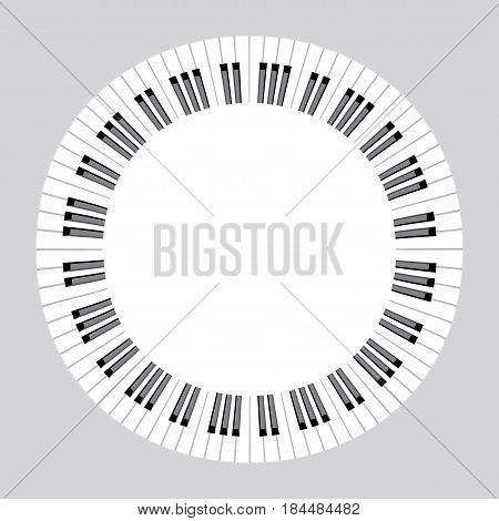 piano keys concept. circle music frame vector illustration