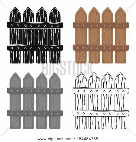 Wooden decorative sectional fence. Fencing for the protection of the garden.Farm and gardening single icon in cartoon style vector symbol stock web illustration.