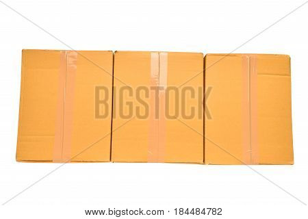 top view brown boxes on isolated background