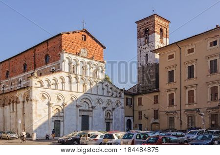 The Romanesque Church of Santa Maria Bianca, also known as Santa Maria Forisportam, in Lucca, Tuscany, Italy - 29 September 2011