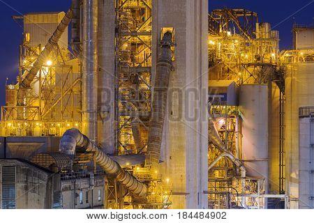 Hong Kong Cement plant at night