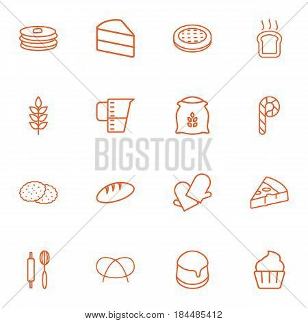 Set Of 16 Cook Outline Icons Set.Collection Of Rolling Pin, Measuring Cup, Pudding And Other Elements.