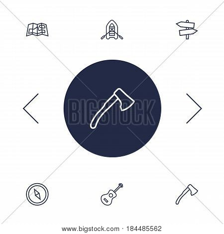 Set Of 6 Camping Outline Icons Set.Collection Of Compass, Gps, Guidepost And Other Elements.
