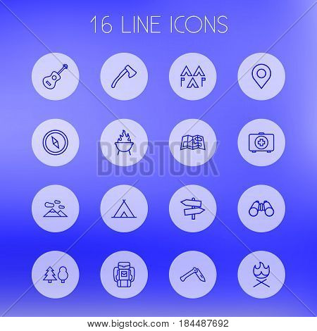 Set Of 16 Adventure Outline Icons Set.Collection Of Penknife, Bonfire, Encampment And Other Elements.