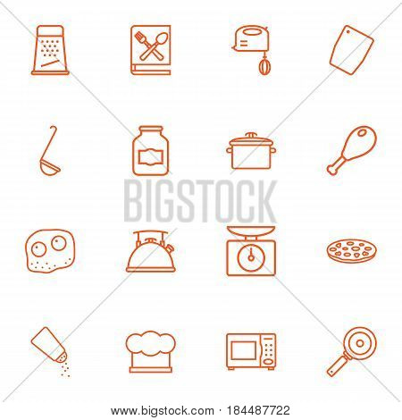 Set Of 16 Kitchen Outline Icons Set.Collection Of Omelette, Ladle, Scales And Other Elements.